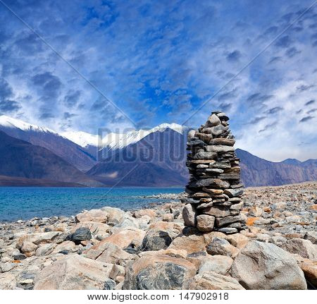 Pangong Lake In Ladakh, Jammu And Kashmir State, India