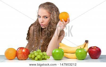 Portrait of a Young Woman with Fruits