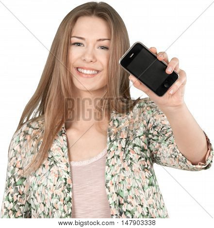 Happy Woman Showing a Smartphone - Isolated
