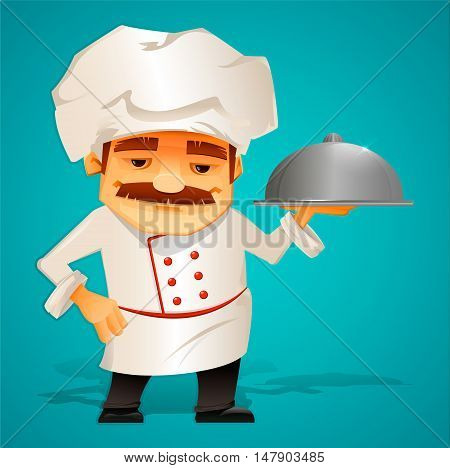 Master Chef. Cook. Character. Beautiful cartoon style. Stock vector illustration