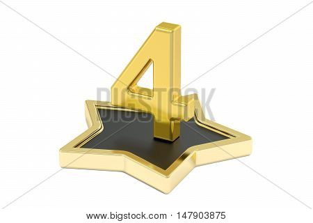 3D golden number 4 on star podium 3D rendering isolated on white background