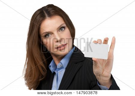 Businesswoman Presenting Blank Business Card Close-up - Isolated