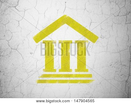 Law concept: Yellow Courthouse on textured concrete wall background