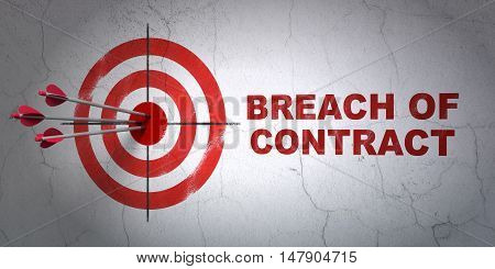 Success law concept: arrows hitting the center of target, Red Breach Of Contract on wall background, 3D rendering