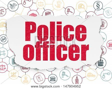 Law concept: Painted red text Police Officer on Torn Paper background with Scheme Of Hand Drawn Law Icons