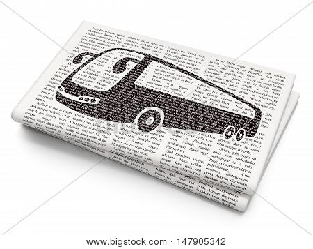 Tourism concept: Pixelated black Bus icon on Newspaper background, 3D rendering