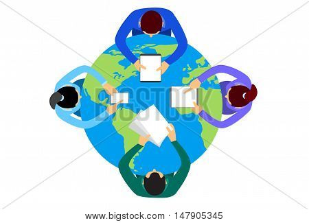 Business People Sitting Desk Globe Top View Global International Collaboration Flat Vector Illustration