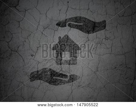 Insurance concept: Black House And Palm on grunge textured concrete wall background