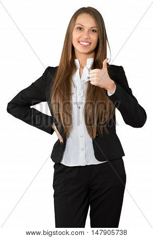 Friendly Businesswoman with Thumb Up and Hand on Hip - Isolated
