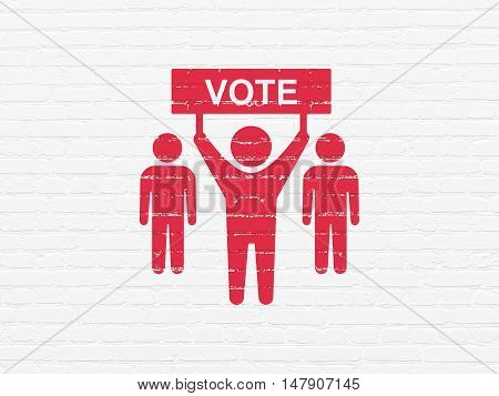 Political concept: Painted red Election Campaign icon on White Brick wall background