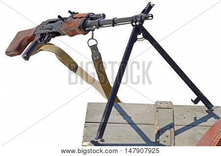 the PK Machine gun Kalashnikov on a white background
