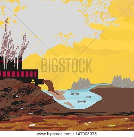 air polluting factory chimneys landscape , vector illustration