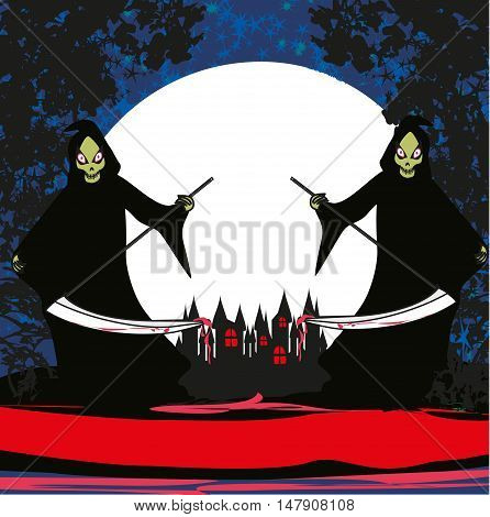 scary Grim reaper at night card , vector illustration
