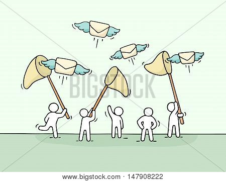 Sketch of working little people with flying letters. Doodle cute miniature scene of workers trying to catch posts. Hand drawn cartoon vector illustration for business design.
