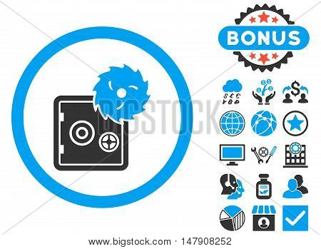 Hacking Theft icon with bonus symbols. Glyph illustration style is flat iconic bicolor symbols, blue and gray colors, white background.