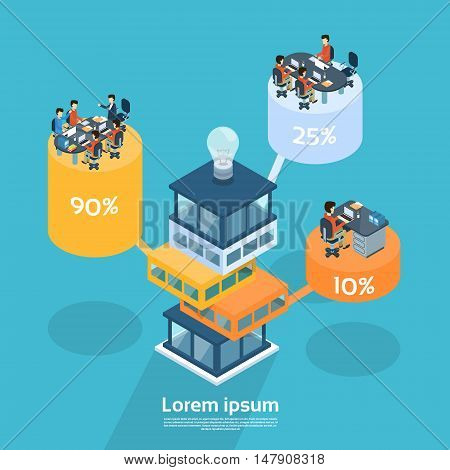 Business People Group Working Office Cylinder Chart Diagram Financial Graph Businesspeople Concept 3d Isometric Vector Illustration