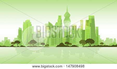 Panama City Skyscraper View Cityscape Background Skyline Green Silhouette with Copy Space Vector Illustration