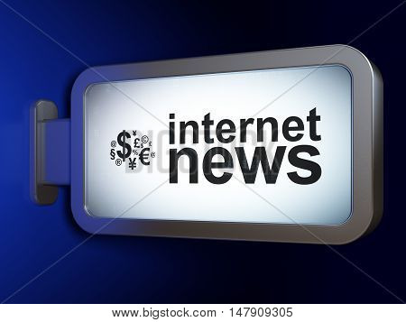 News concept: Internet News and Finance Symbol on advertising billboard background, 3D rendering