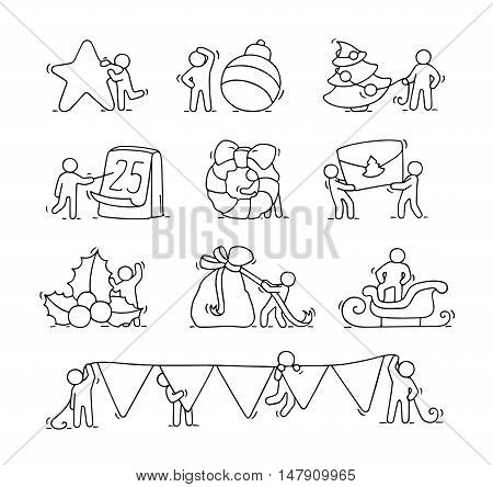 Cartoon christmas icons set with sketch working little people with party symbols. Doodle cute miniature scenes of workers about winter. Hand drawn vector for christmas and new year celebration.