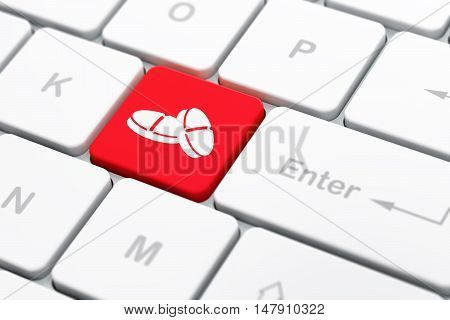 Health concept: computer keyboard with Pills icon on enter button background, selected focus, 3D rendering