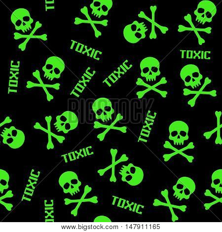 black and green vector seamless patterns with skulls and toxic signs