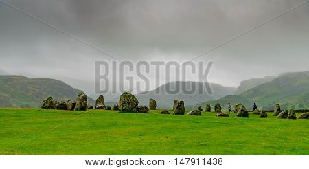 Castlerigg Stone Circle lies near Keswick in Cumbria, North West England.  It was constructed as a part of a megalithic tradition that lasted from 3,300 to 900 BC.