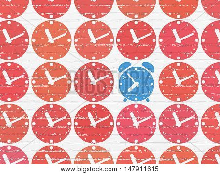 Timeline concept: rows of Painted red clock icons around blue alarm clock icon on White Brick wall background