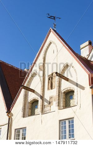 Facade of an old ancient building in the old town of Tallinn Estonia
