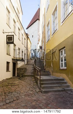 Long street with stairs called Luhike Jalg (Short leg) in the old town of Tallinn Estonia