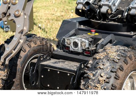Ferrara Italy 16 September 2016 - closeup on the camera of a bomb disposal robot unit used by the Army to defuse bomb