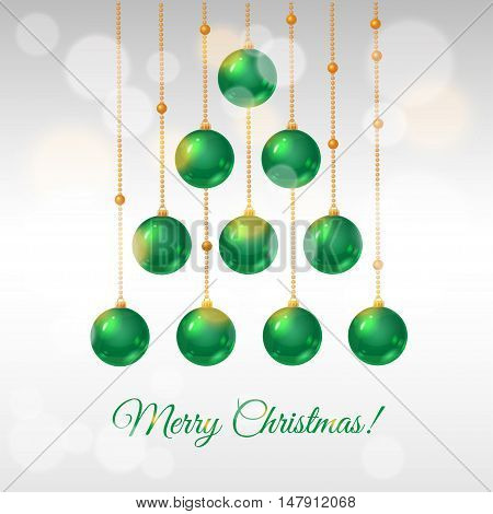 greeting card for Christmas with Christmas tree made of decorative balls