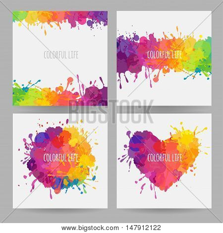 square banners with stains and splatters, vector banners with paint stains and spills