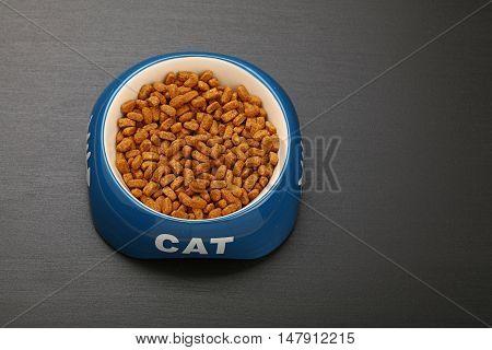 Dry Cat Food In Ceramic Bowl On Black Floor