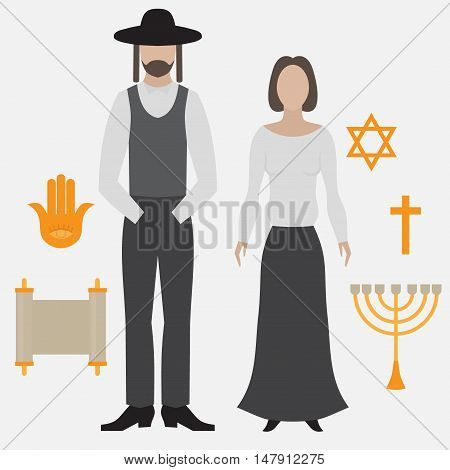 Orthodox jew man and woman. Flat icon symbols of Judaism minora david star anchovy and scroll.
