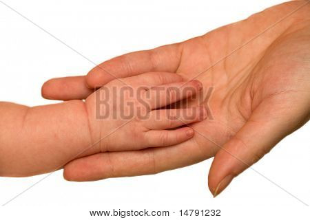 baby hand in mother arm isolated on white background