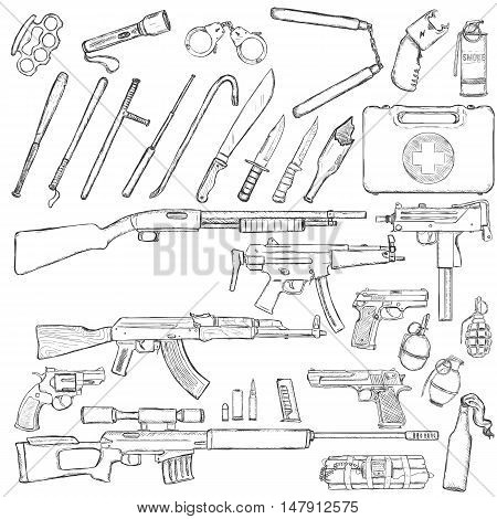Vector Sketch Big Set Of Weapons And Equipment