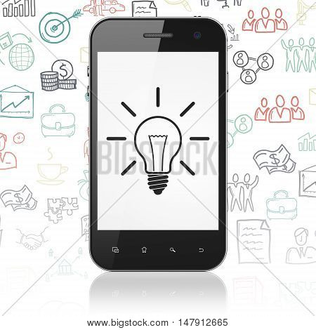 Business concept: Smartphone with  black Light Bulb icon on display,  Hand Drawn Business Icons background, 3D rendering