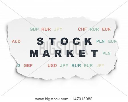 Business concept: Painted black text Stock Market on Torn Paper background with  Currency