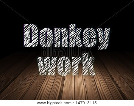 Business concept: Glowing text Donkey Work in grunge dark room with Wooden Floor, black background