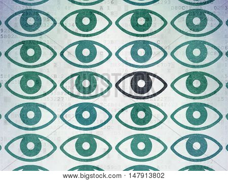 Privacy concept: rows of Painted blue eye icons around black eye icon on Digital Data Paper background