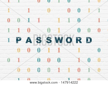 Security concept: Painted blue text Password on White Brick wall background with Binary Code