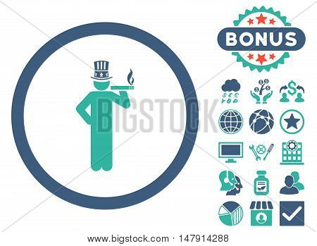American Capitalist icon with bonus symbols. Glyph illustration style is flat iconic bicolor symbols, cobalt and cyan colors, white background.