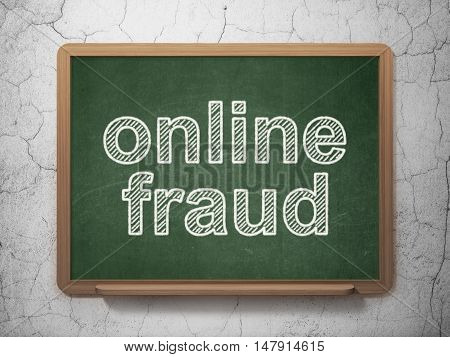 Privacy concept: text Online Fraud on Green chalkboard on grunge wall background, 3D rendering