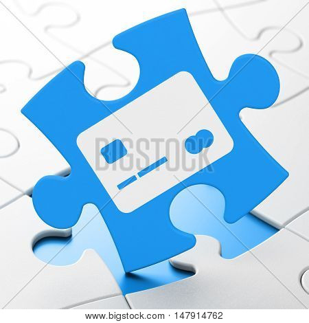 Currency concept: Credit Card on Blue puzzle pieces background, 3D rendering