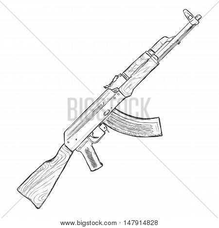 Vector Sketch Ak-47 Machinegun