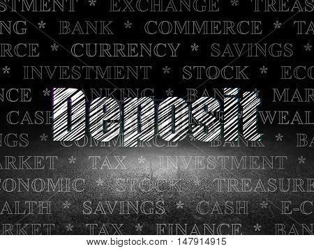 Banking concept: Glowing text Deposit in grunge dark room with Dirty Floor, black background with  Tag Cloud