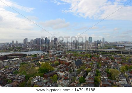 Boston City Skyscrapers and Charlestown, from the top of Bunker Hill Monument, Boston, Massachusetts, USA