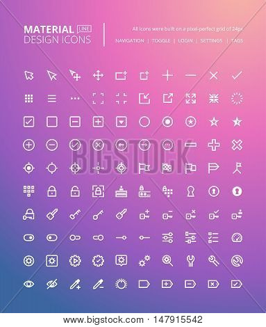 Set of material design line icons. Pixel perfect icons for navigation and setting, toggles and tags, web and app development.