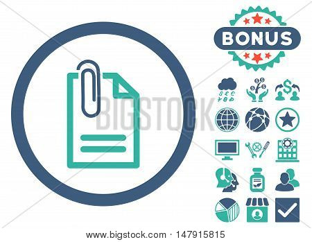 Attach Document icon with bonus images. Glyph illustration style is flat iconic bicolor symbols, cobalt and cyan colors, white background.