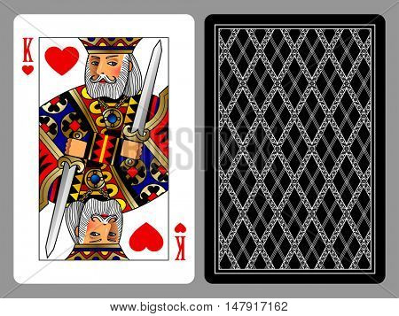 King of Hearts playing card and the backside background. Colorful original design. Vector illustration